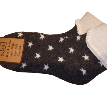 Cosy Cuff Socks with Stars S104Gy