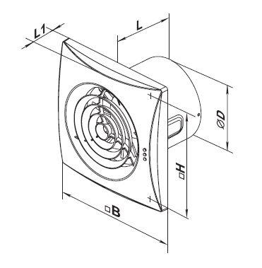 Vents extractor fan 125 Quiet series up to 185 m³/h IP45