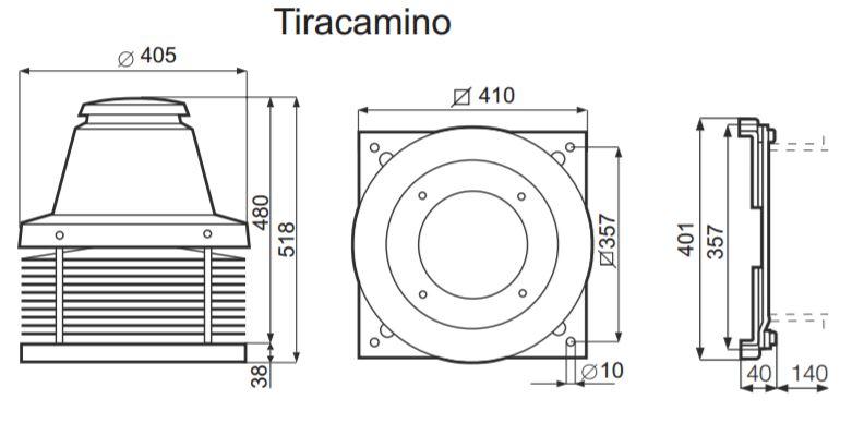 Vortice Roof fan Chimney fan range Camino up to 1200m³/h