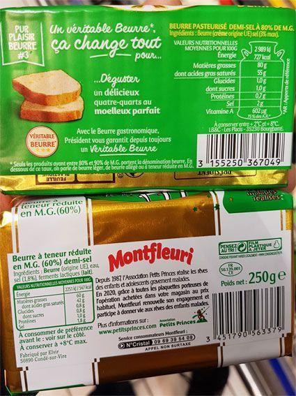 Beurre véritable et à teneur réduite en matière grasse