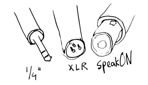 "1/4"", XLR, and speakON connectors"