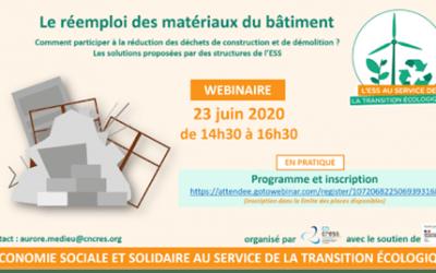 webinaire «Réemploi des matériaux du bâtiment, les solutions proposées par l'ESS» – CNCRESS
