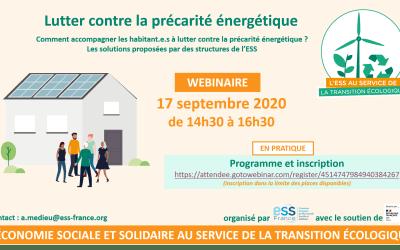 Nouveau webinaire ESS France : lutter contre la précarité énergétique