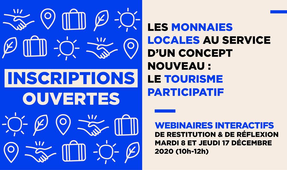 2 webinaires sur les Monnaies locales, le Tourisme participatif et l'ESS