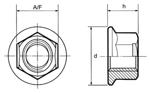 Self Locking Nuts Flange Din 6927 Stover Type All Metal