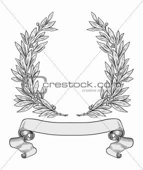 Laurel wreaths pattern vector free