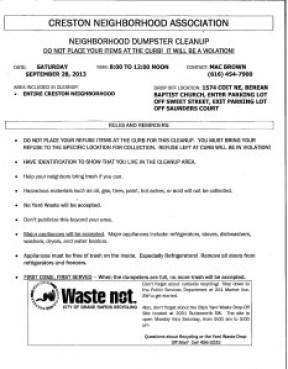 Dumpster Day Flyer