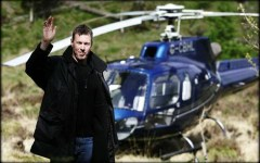Former World Rally champion Colin McRae in 2006 with his helicopter.