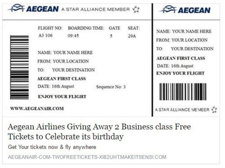 Facebook fake free aegean ailine tickets