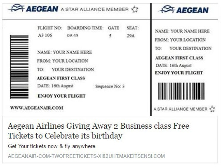Facebook fake free aegean ailine tickets