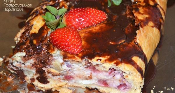 Ρολό με φράουλες και γλυκιά κρητική μυζήθρα