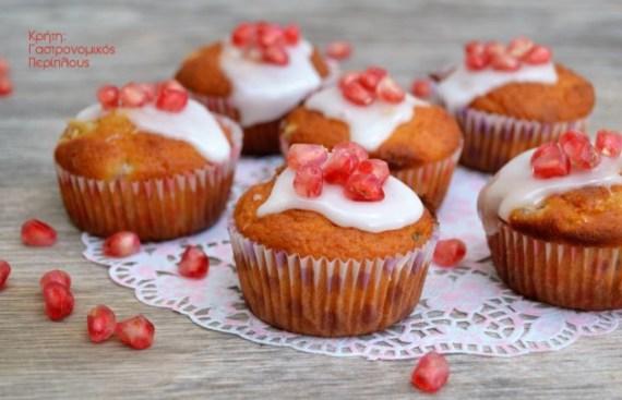 μικρά κέικ μάφινς muffins ρόδι σταφίδες ελαιόλαδο γιαούρτι μενού 44 κολάζ συνταγές cretangastronomy.gr