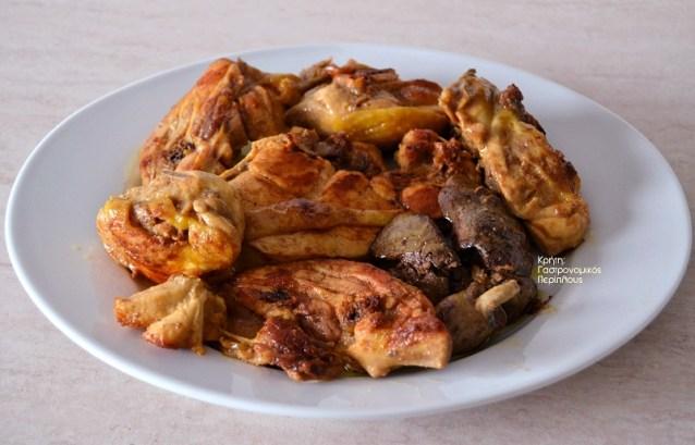 Κρασάτο κοτόπουλο στο τηγάνι