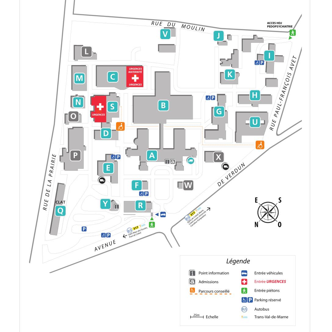 Plan du Centre Hospitalier Intercommunal de Créteil
