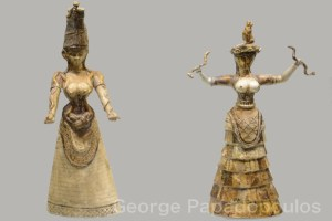 Minoan snake goddess figurines