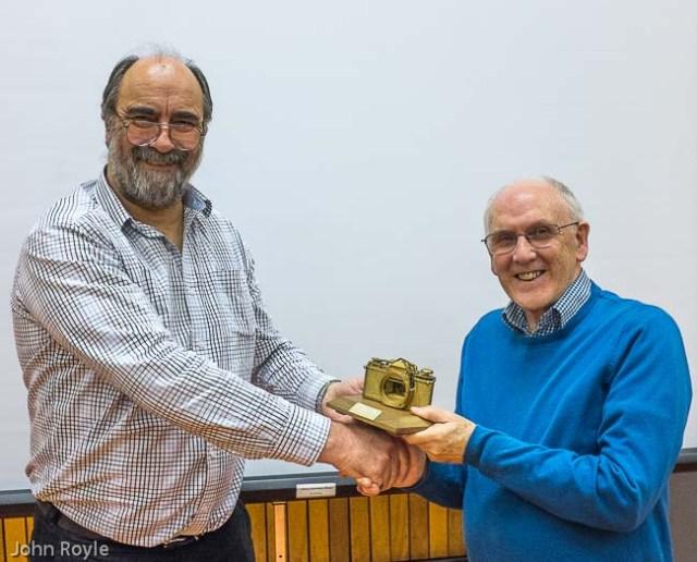 Judge Steve Carr presents the Trophy to Crewe PS Secretary, Tom Seaton