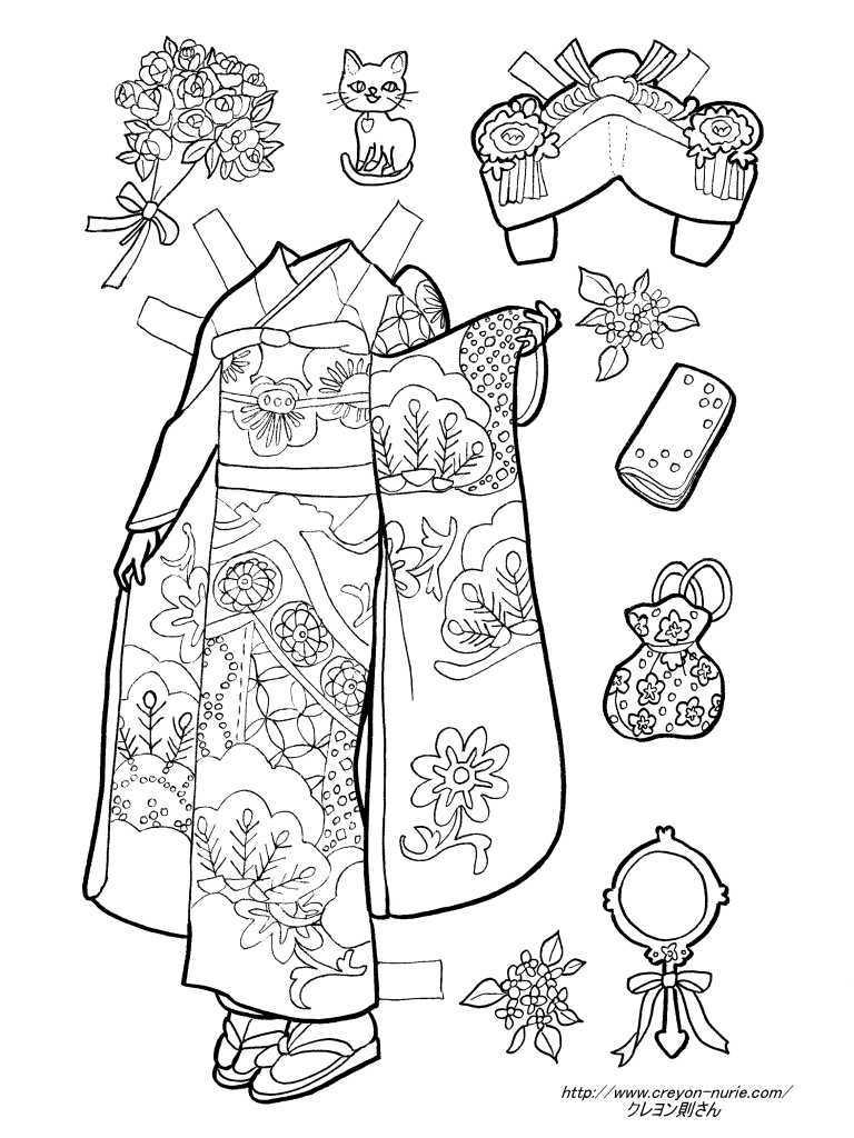 着物の花嫁衣装の着せ替え塗り絵の下絵、画像
