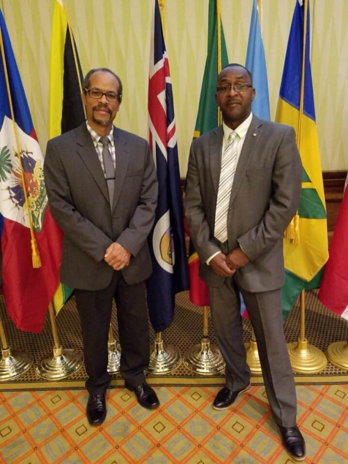 CRFM Executive Director, Milton Haughton (left), and Chair of the Ministerial Council, David Osborne, Minister of Agriculture, Trade, Lands, Housing and the Environment (MATLHE) of Montserrat