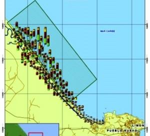 En el mapa se muestra la zona de anidación de las tortugas baulas, en la misma playa donde asesinaron a Jairo Mora. Foto tomada de Kioskos ambientales de la UCR.