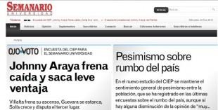 Toma de pantalla del sitio web del Semanario Universidad