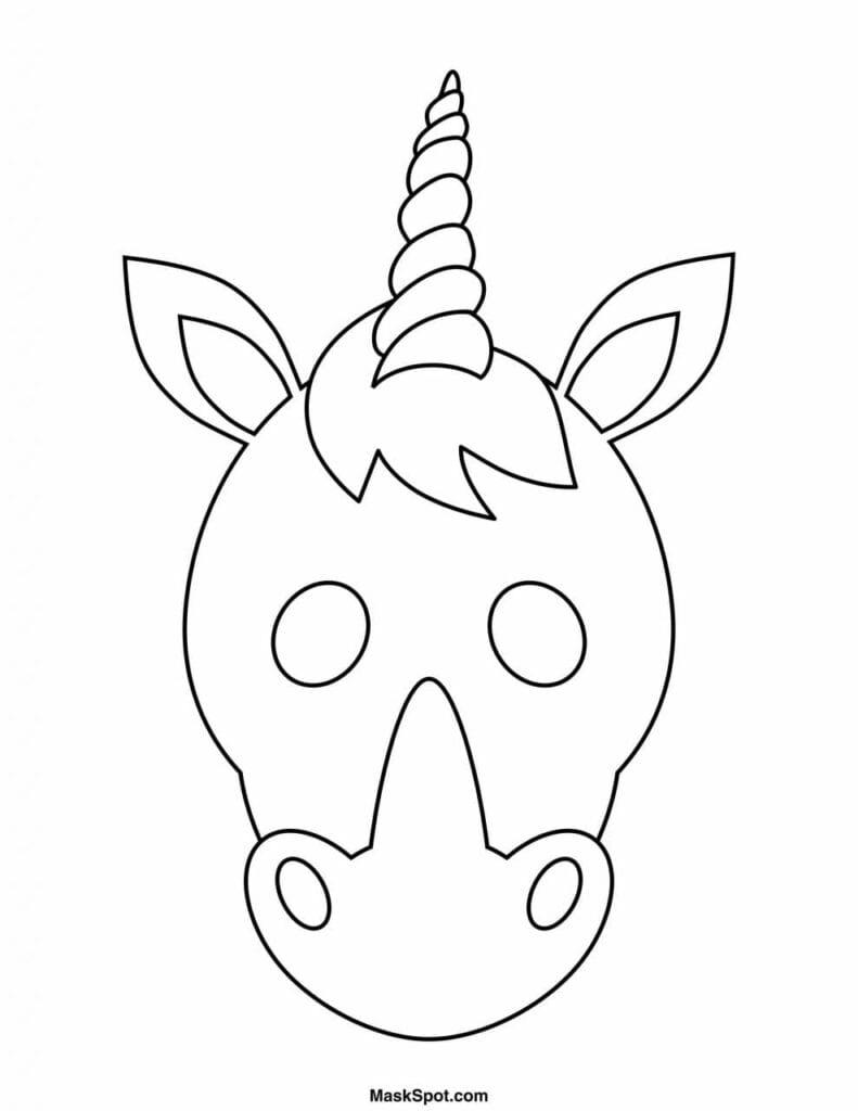 Máscara de unicórnio para imprimir, colorir e brincar muito