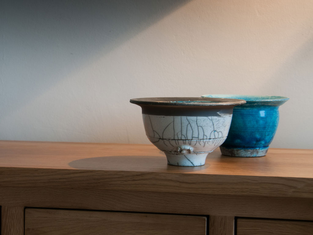 two raku bowls