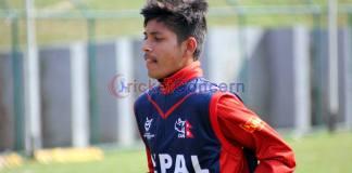 Leg spinner Sandeep Lamichhane prepares for World Cricket League against Namibia at TU ground Kritipur