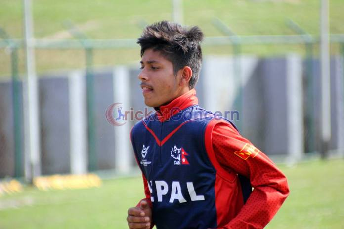 Leg spinner Sandeep Lamichhane prepares for World Cricket League against Namibia at TU ground Kritipur