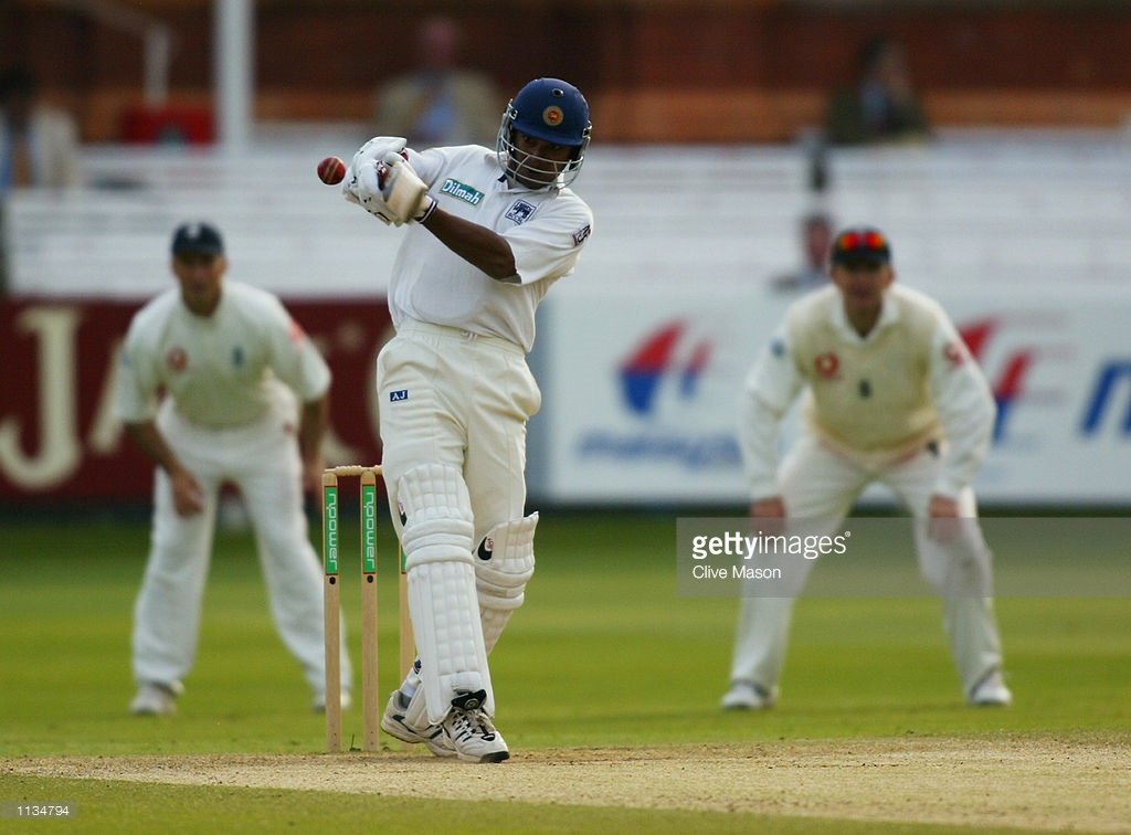 Kumar Sangakkara of Sri Lanka in action during the fifth day of the first Test Match between England and Sri Lanka played at Lord's, in London on May 20, 2002.