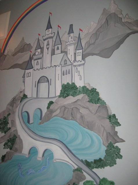 A castle under a rainbow