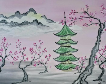 Pagoda with Cherry Blosssoms
