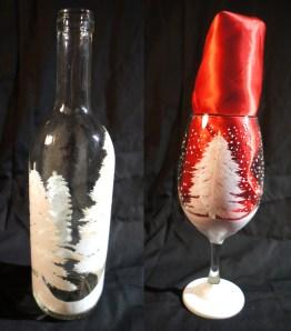 White Christmas Wine Bottle & Glass