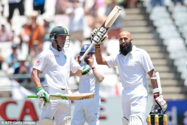 South Africa's Amla celebrates reaching triple century during first cricket test match against England in London