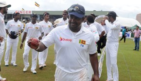 Sri Lankan cricket captain Rangana Herath leave the grounds after victory