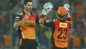 Ben Cutting of Sunrisers Hyderabad celebrates the wicket of Aaron Finch of Gujarat Lions