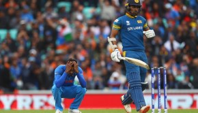Hardik Pandya of India reacts after a dropped catch off his bowling during the ICC Champions trophy