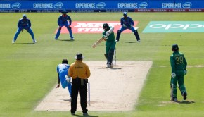 Pakistan's Azhar Ali (C) hits the ball for four runs during the ICC Champions trophy final