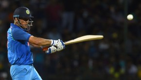 Indian cricketer Mahendra Singh Dhoni plays a shot