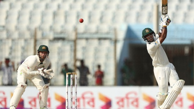 Shabbir Rahman Roman of Bangladesh bats during day one of the Second Test