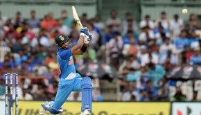 Indian cricketer Hardik Pandya plays a shot during the first one day international