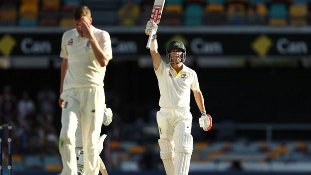 David Warner of Australia celebrates after reaching his half century