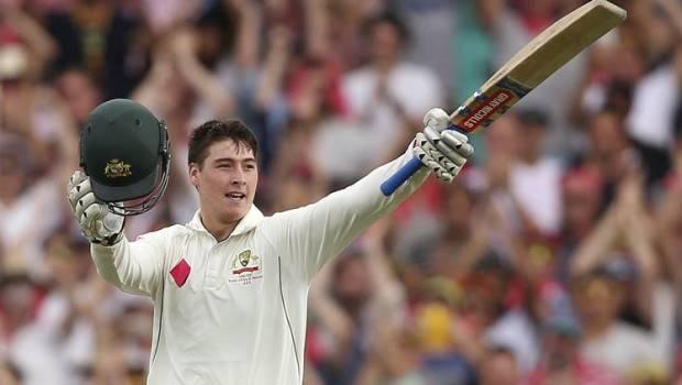 Australia's Matt Renshaw celebrates making 100 runs