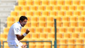 Mohammad Abbas of Pakistan celebrates the dismissal of Sri Lanka's Kusal Mendis
