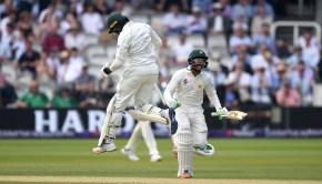 Imam-ul-Haq and Haris Sohail of Pakistan celebrate winning the 1st NatWest Test