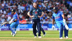 England's Ben Stokes reacts as India's Rohit Sharma and Virat Kohli run between the wickets
