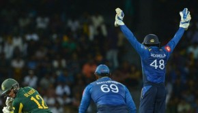 South Africa's Quinton de Kock gets dismissed by Sri Lanka's Akila Dananjaya