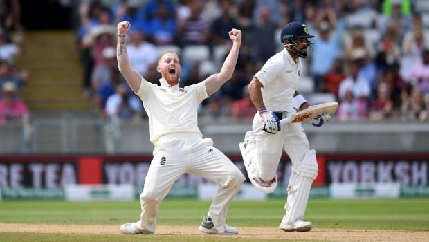 Ben Stokes of England celebrates dismissing India captain Virat Kohli