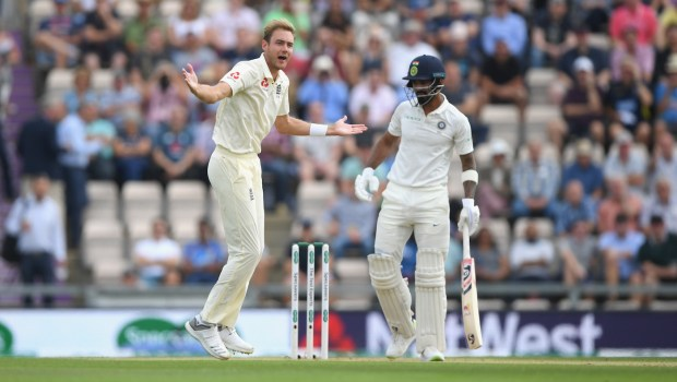 India batsman Rahul is trapped LBW by England bowler Stuart Broad