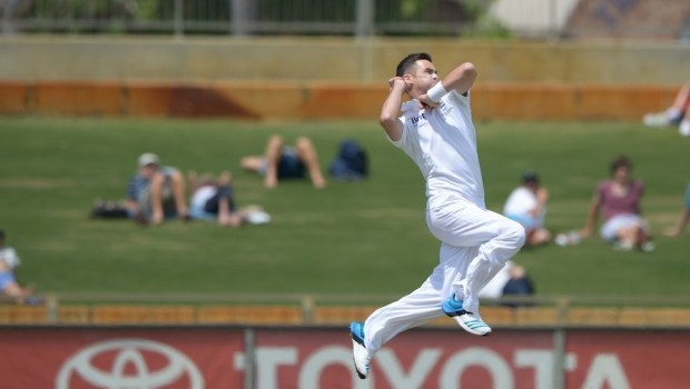 England Test cricketer James Anderson bowls
