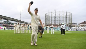 Alastair Cook of England leaves the field after the final time